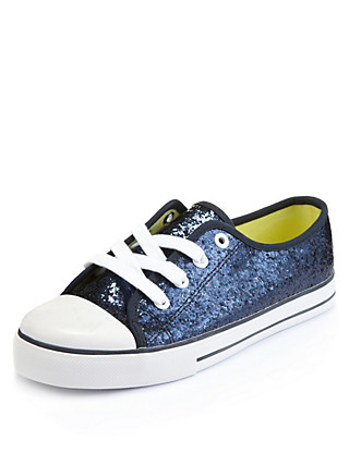 Sequin Embellished Lace Up Trainers Clothing