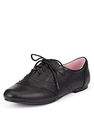 Leather Jazz Almond Toe Punch Hole Panelled School Shoes (Older Girls) Clothing
