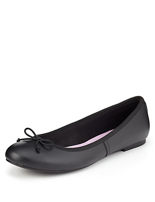 Freshfeet™ Scuff Resistant Leather Bow Ballet Slim School Pumps with Silver Technology (Older Girls) Clothing