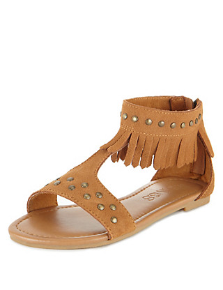 Leather High Top Studded Fringe Sandals (Younger Girls) Clothing