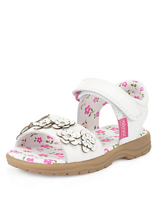 Walkmates Leather Floral Corsage Sandals (Younger Girls) Clothing