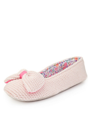 Knitted Bow Slippers Clothing