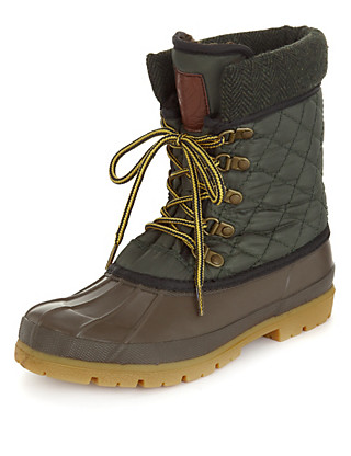 Water Resistant Lace Up Duck Boots Clothing