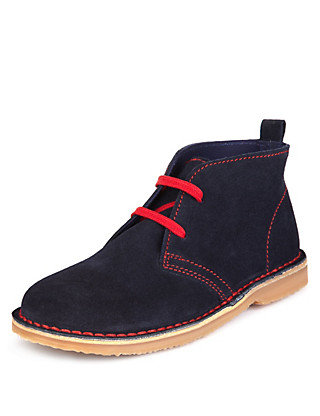 Suede Contrast Lace Up Desert Boots Clothing