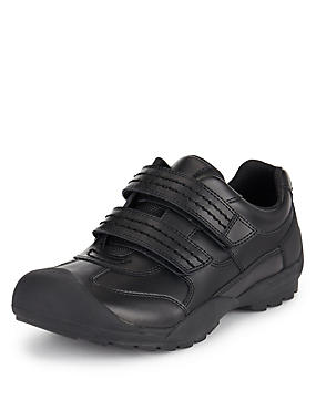Kids' Scuff Resistant Coated Leather School Trainers