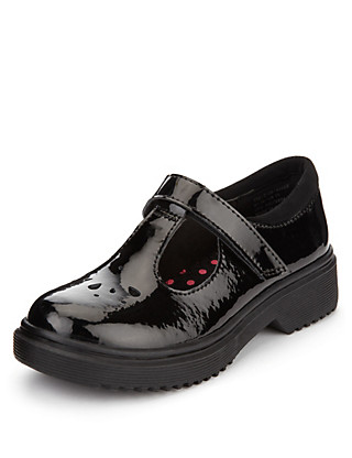 Coated Leather T-Bar School Shoes (Younger Girls) Clothing