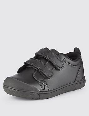 Kids' Leather Freshfeet™ Scuff Resistant Toe Bumper Trainers with Silver Technology