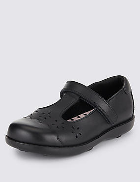 Kids' Freshfeet™ Leather T-Bar School Shoes With Silver Technology