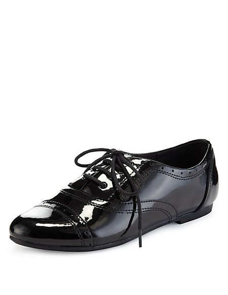 Coated Leather Jazz Punch Hole Patent School Shoes (Older Girls)