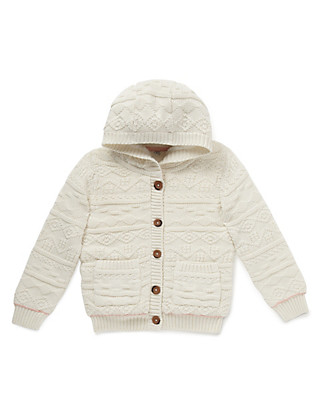 Pure Cotton Chunky Cardigan with StayNEW™ (1-7 Years) Clothing