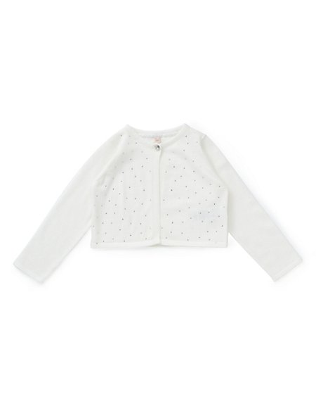 Pure Cotton Stud Embellished Cardigan with StayNEW™ (1-7 Years)