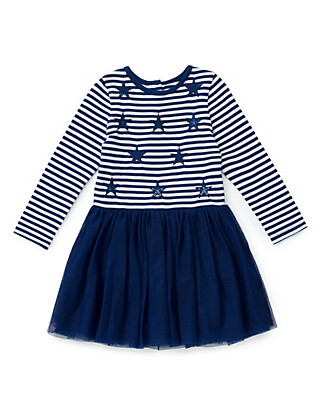 Pure Cotton Star Print Girls Dress with StayNEW™ (1-7 Years) Clothing