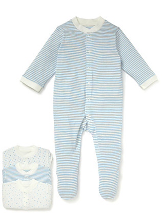 3 Pack Pure Cotton Blue Star Sleepsuits Clothing
