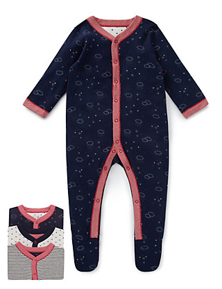 3 Pack Pure Cotton Cloud Sleepsuit Clothing