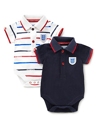 2 Pack Pure Cotton Official England FA 3 Lions Bodysuits Clothing