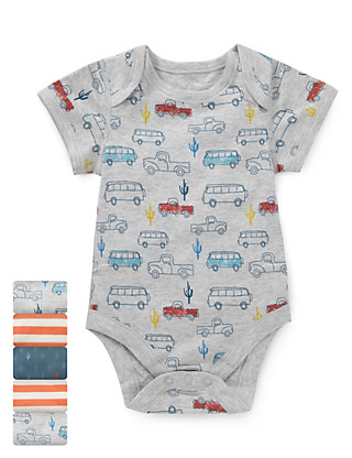 5 Pack Pure Cotton Van Print Bodysuits Clothing