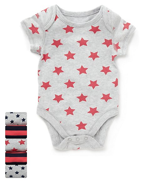 5 Pack Pure Cotton Star & Striped Bodysuits