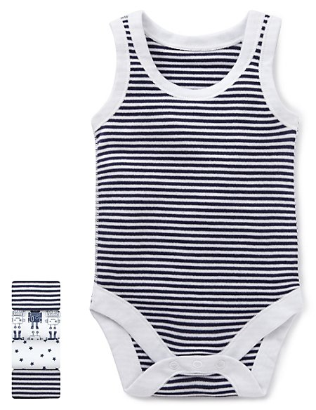 5 Pack Pure Cotton Assorted Sleeveless Bodysuits