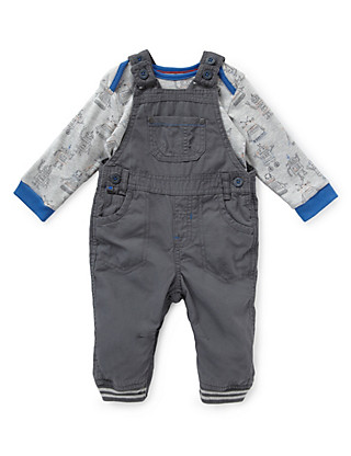 2 Piece Pure Cotton Ripstop Dungaree & Bodysuit Outfit Clothing