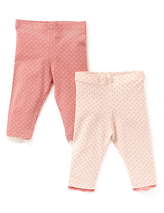 2 Pack Cotton Rich Spotted Leggings Clothing