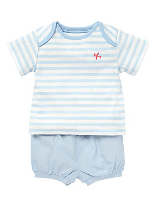 2 Piece Pure Cotton Striped T-Shirt & Shorts Outfit Clothing