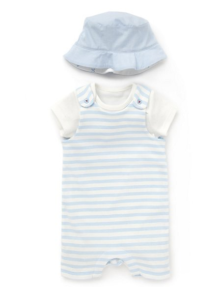 2 Piece Pure Cotton Dungaree Outfit with Hat