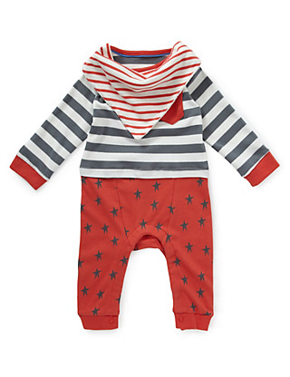 2 Piece Pure Cotton Striped Romper with Bib Clothing