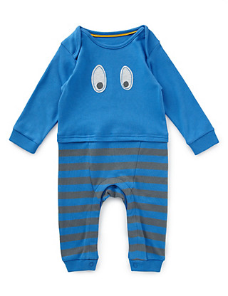 2 Piece Pure Cotton Monster Mock Layered Onesie with Bib Clothing