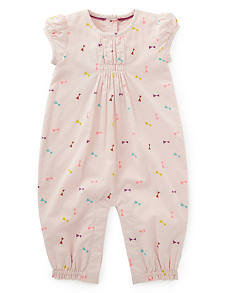 Pure Cotton Bow Print Woven Romper Clothing