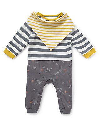2 Piece Pure Cotton Striped Mock Layered Onesie with Bib Clothing