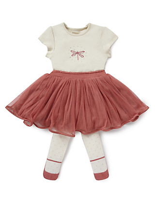 3 Piece Bodysuit Tutu Skirt & Tights Outfit Clothing
