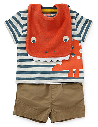 3 Piece Cotton Rich T-Shirt, Shorts & Bib Outfit Clothing