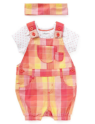 3 Piece Pure Cotton Gingham Checked Dungaree Outfit with Headband Clothing