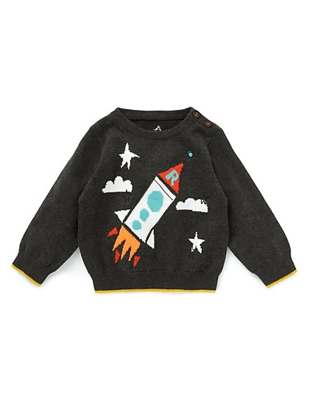 Pure Cotton Rocket Intarsia Jumper