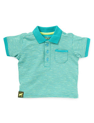 Pure Cotton Slub Striped Polo Shirt Clothing