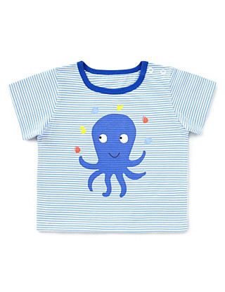 Pure Cotton Octopus Striped T-Shirt Clothing