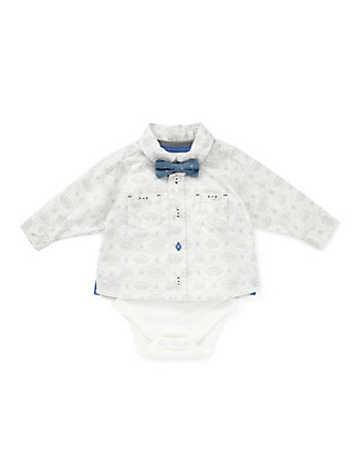 2 Piece Pure Cotton Insect Print Shirt & Bodysuit Set with Bow Clothing