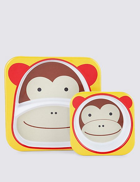 Zoo Tabletop Set (Plate & Bowl) - Monkey
