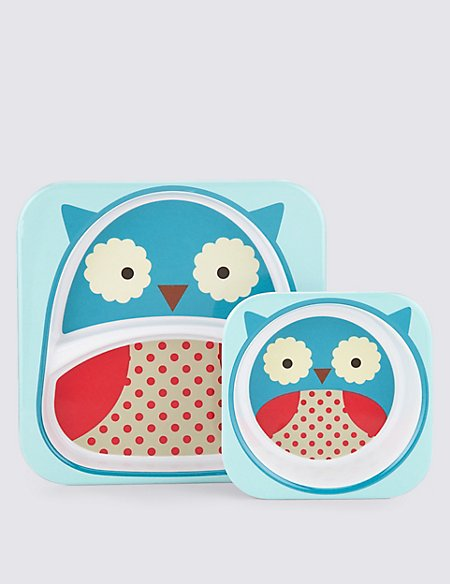 Zoo Tabletop Set (Plate & Bowl) - Owl
