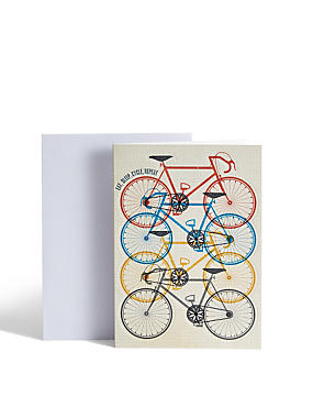 Coloured Bikes Birthday Card