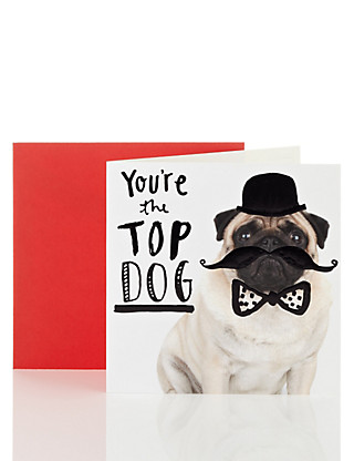 Funny Dog Wearing Top Hat Birthday Card Home