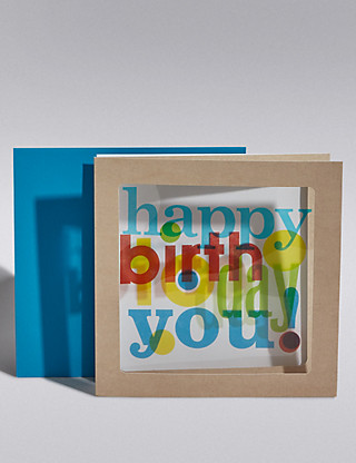 Colourful 3D Happy Birthday Card Home