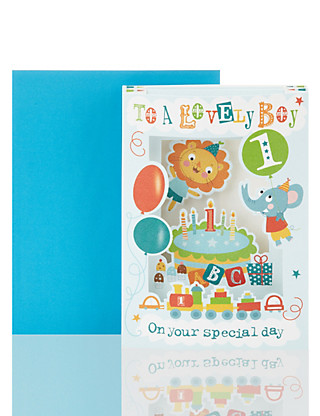 3D Lovely Boy Age One Birthday Greetings Card Home