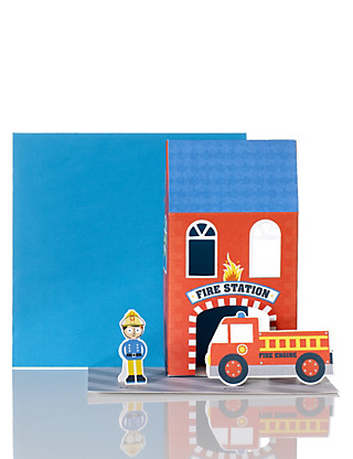 Make & Play Fire Station Birthday Card Home
