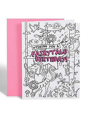 Colour-in Fairytale Birthday Card