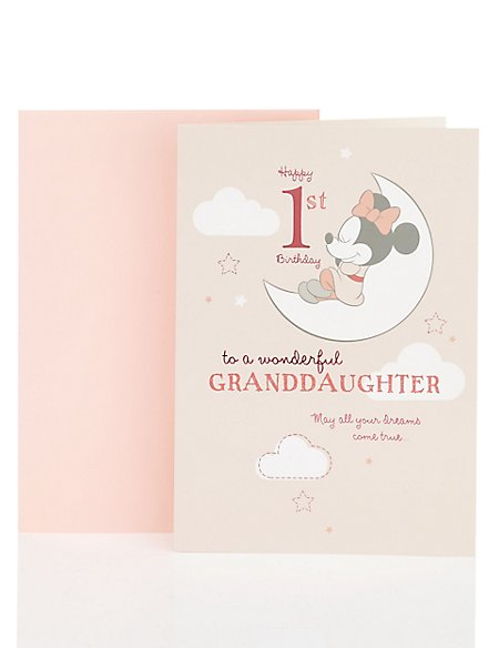 Age 1 Granddaughter Minnie Mouse Birthday Card