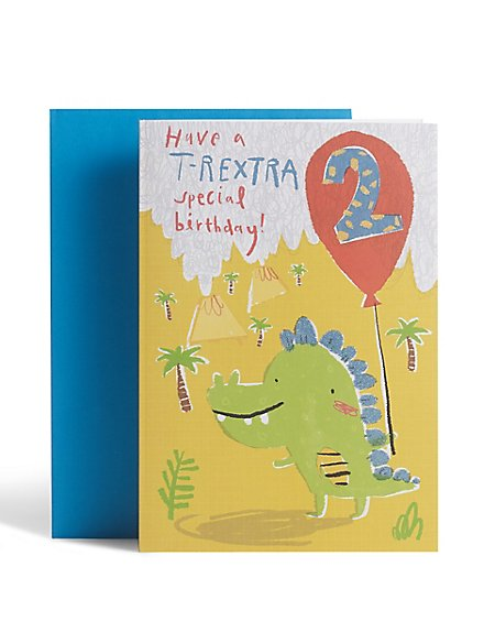 Illustrated Dinosaur 2nd Birthday Card