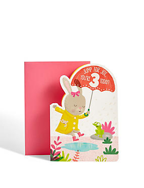 Age 3 Girl Rabbit Birthday Card