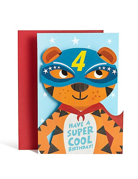Age 4 Boy Tiger Birthday Card