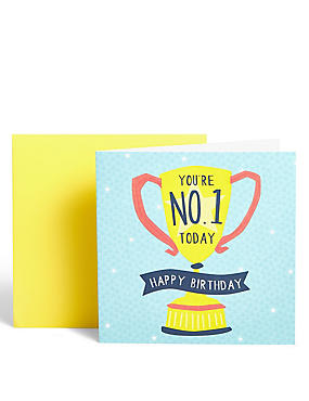 No. 1 Trophy Birthday Card